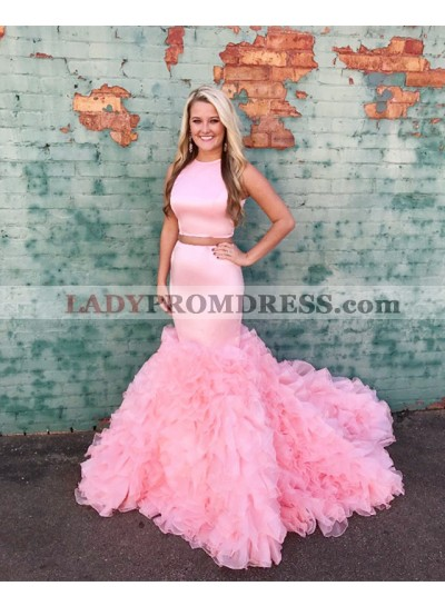 Sexy Mermaid Pink Two Pieces Elastic Satin Ruffles Pleated Long Prom Dresses 2021