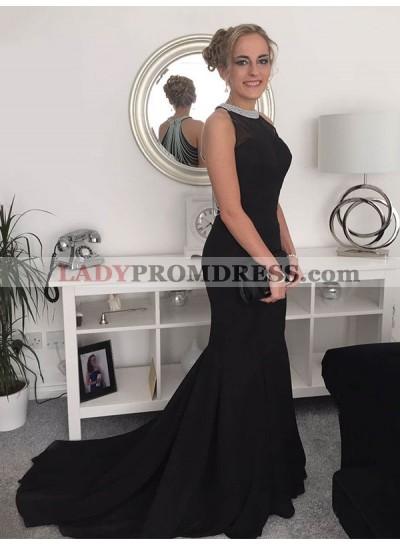 Charming Black Mermaid Beaded Long Train Prom Dresses
