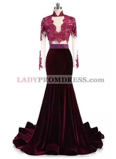Mermaid Burgundy Long Sleeves Velvet Long High Neck Prom Dresses With Appliques
