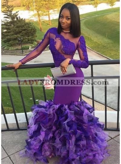 Long Sleeves Purple Mermaid Ruffles Pleated See Through African Prom Dresses