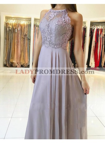Cheap A Line Chiffon Lace Lilac Halter Floor Length Open Back Prom Dresses