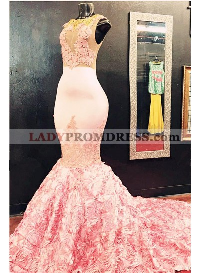 Sexy Mermaid Dusty Rose See Through Crew Neck Long African Prom Dresses With Appliques
