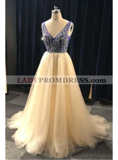 Cheap A Line Tulle Champagne Backless V Neck Beaded Prom Dresses