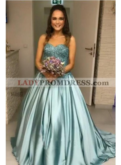 New Arrival Elastic Satin Sweetheart Ball Gown Turquoise Strapless Long Prom Dresses