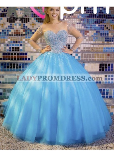 Elegant Princess Blue Long Sleeves Sweetheart Tulle Ball Gown Prom Dresses