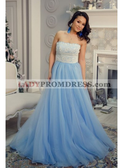 A Line Strapless Blue Organza Lace Prom Dresses
