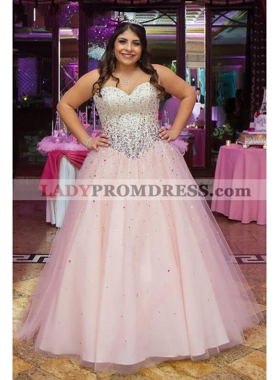 Cheap Ball Gown Sweetheart Tulle Pink Lace Up Back Plus Size Prom Dresses