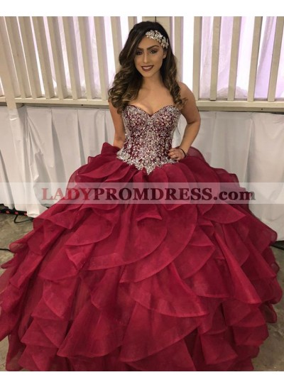 Burgundy Sweetheart Beaded Organza Ruffles Ball Gown Prom Dresses 2020