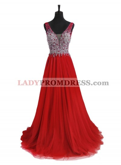 Red A Line Tulle Back V Neck Beaded Prom Dresses