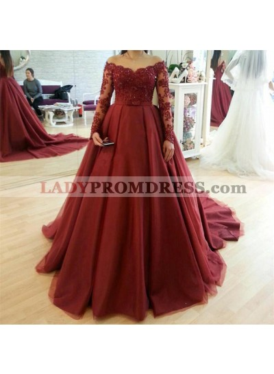 Off Shoulder Burgundy Long Sleeves Bowknot Tulle Ball Gown Prom Dresses