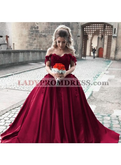 Off Shoulder Sweetheart Ball Gown Satin Prom Dresses With Appliques