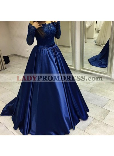 Elegant Long Sleeves Dark Navy Off Shoulder Ball Gown Prom Dresses