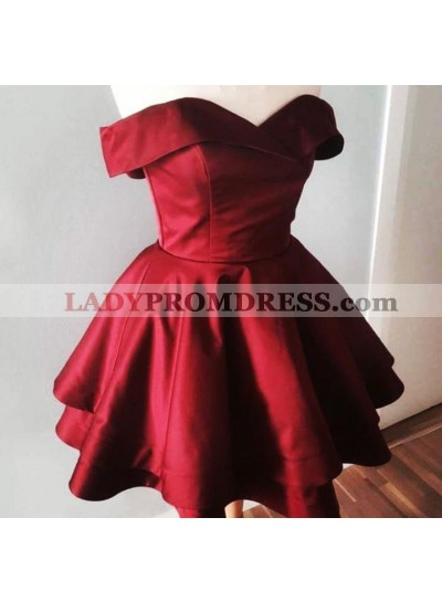 Satin A Line Burgundy Knee Length Off Shoulder Sweetheart Short Prom Dresses