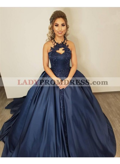 Cheap Dark Navy Satin Halter Ball Gown Prom Dresses With Appliques