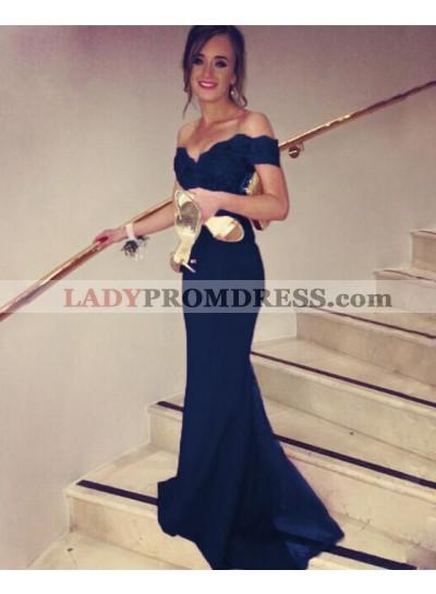 Elegant Sweetheart Sheath Off Shoulder Satin Dark Navy Prom Dresses