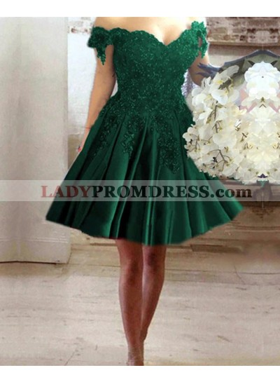Off Shoulder Hunter Sweetheart Knee Length Satin Short Prom Dresses With Appliques
