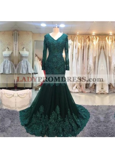 Mermaid Hunter Long Sleeves Tulle With Appliques V Neck Long Prom Dresses