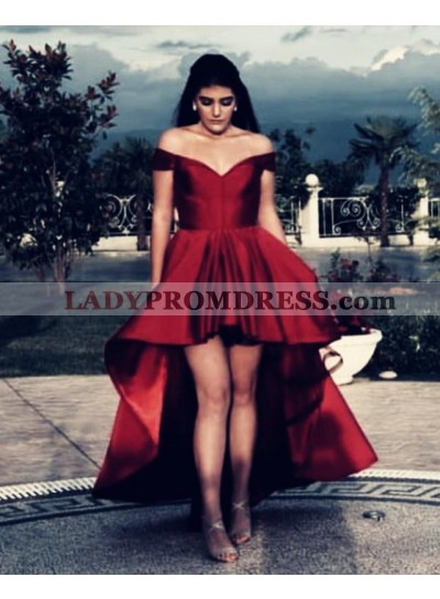Cheap A Line Satin Red Off Shoulder Sweetheart High Low Short Prom Dresses