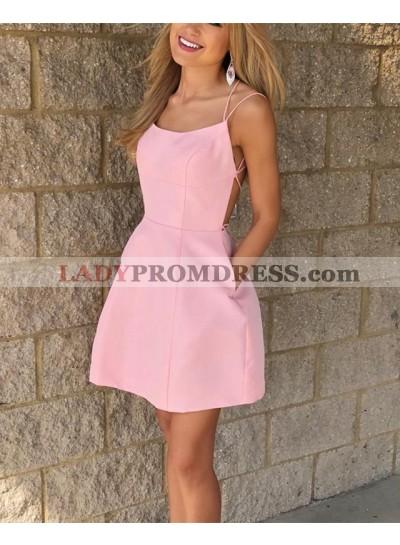 Cheap A Line Satin Pink Backless Halter Knee Length Lace Up Back Short Prom Dresses