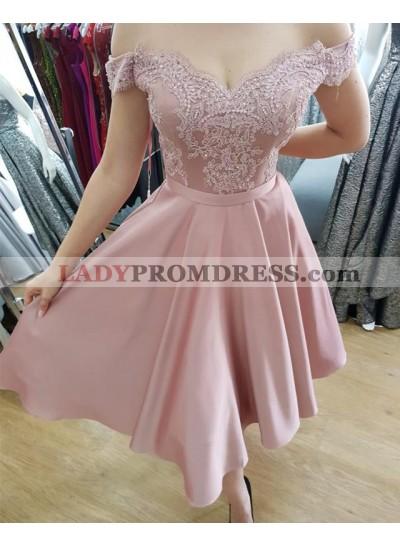 Cheap A Line Tea Length Satin Off Shoulder Satin Dusty Rose Sweetheart Prom Dresses