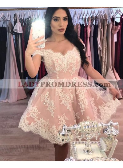 A Line Knee Length Off Shoulder Sweetheart Dusty Rose Short Prom Dresses With Applique