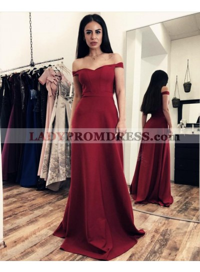 Elegant Satin Off Shoulder Red Sweetheart Sheath Prom Dresses
