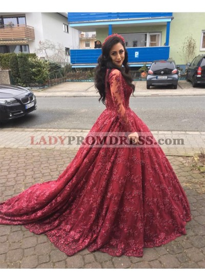 Burgundy Long Sleeves Lace Sweetheart Ball Gown Prom Dresses