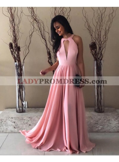Elegant A Line Chiffon Pink Floor Length Key Hole Prom Dresses