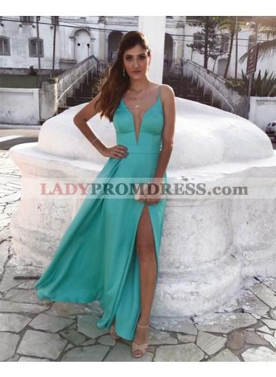 Elegant A Line Sweetheart Mint Green Side Slit Spaghetti Straps Prom Dresses