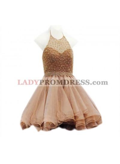A Line Gold Knee Length Halter Beaded Short Organza Backless Prom Dresses