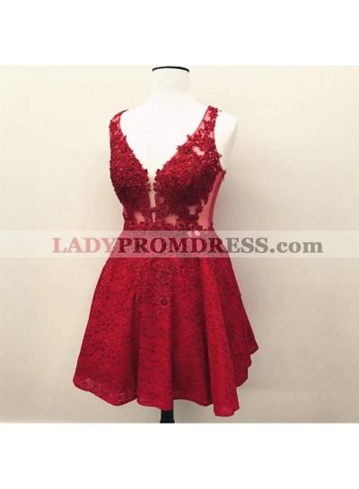 Short A Line V Neck Lace Knee Length Women's Prom Dresses