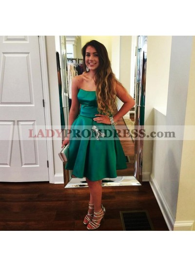 Knee Length Elastic Satin Strapless A Line Short Prom Dresses