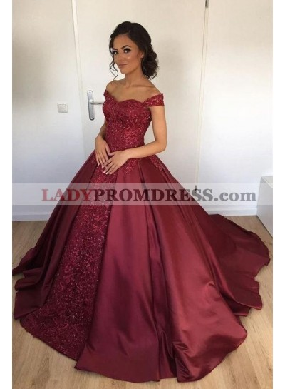 Elegant Burgundy Off Shoulder Sweetheart Satin Ball Gown Prom Dresses