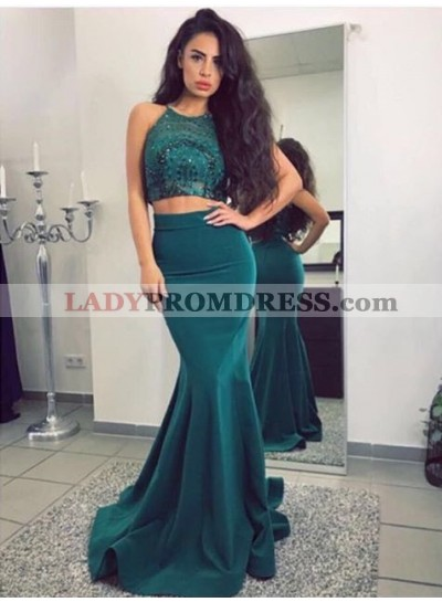 2021 Charming Teal Elastic Satin Mermaid Halter Two Pieces Long Prom Dresses