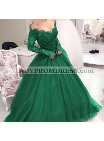 Off Shoulder Lace Long Sleeves Sweetheart Emerald Ball Gown Prom Dresses