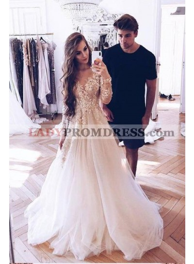 Charming A Line Long Sleeves Tulle Ivory Sweetheart Long Prom Dresses With Appliques
