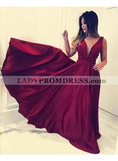 Elegant A Line Deep V Neck Burgundy Elastic Satin Long Prom Dresses