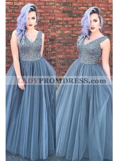 V Neck Gray Tulle Ball Gown Floor Length Beaded Prom Dresses
