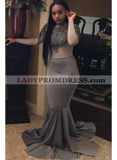 Mermaid Gray African American Long Sleeves See Through Long Black Women's Prom Dresses