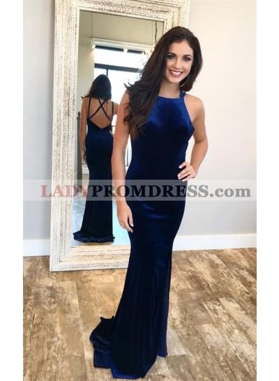 Charming Sheath Velvet Royal Blue Backless Criss Cross Halter Prom Dresses