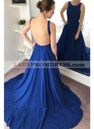 Sexy Backless Royal Blue A Line Zipper Back Long Prom Dresses 2021