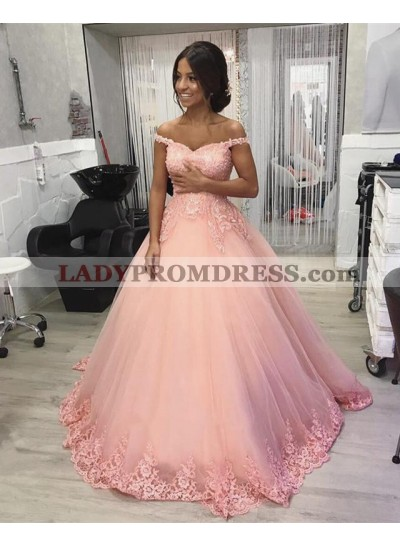 Pink Off Shoulder Sweetheart Tulle Ball Gown Prom Dresses With Applique