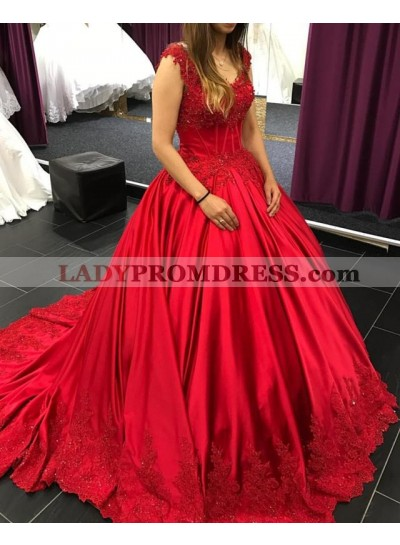 2021 New Arrival Red Satin Long Train Sweetheart Capped Sleeves Ball Gown Prom Dresses