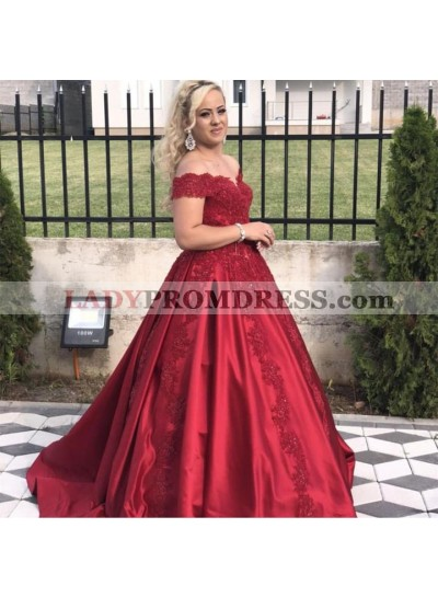 Newly Red Satin Off Shoulder Sweetheart Long Ball Gown Prom Dresses 2021