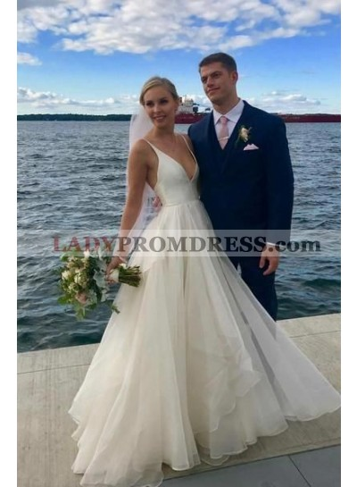 2019 New Arrival A Line Organza Deep V Neck Ivory Long Beach Wedding Dresses