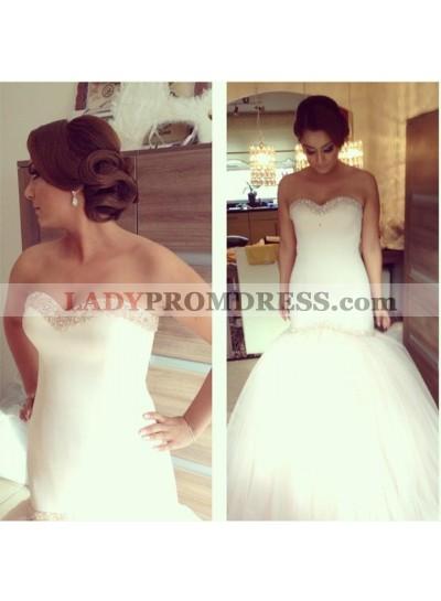 Sexy Sweetheart Beaded Tulle Mermaid 2020 Wedding Dresses