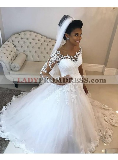 2021 Newly White Long Sleeves Off Shoulder Long Ball Gown Sweetheart Wedding Dresses