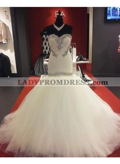 New Designer Ivory Sweetheart Tulle Beaded Long Mermaid Wedding Dresses