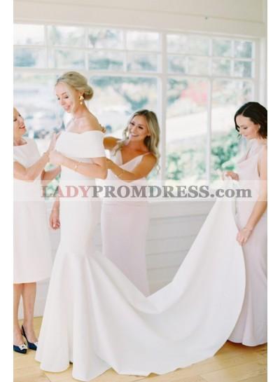 2021 Charming Sheath White Off Shoulder Satin Long Beach Wedding Dresses