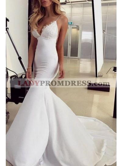 Sexy Mermaid Sweetheart Elastic Satin Backless Long Train Lace Wedding Dresses